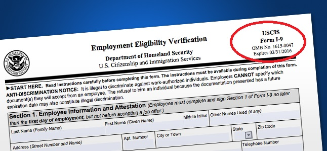 Employment Eligibility Verification I 9 Form